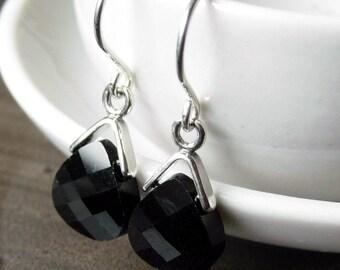 Jet Swarovski crystal briolette earrings