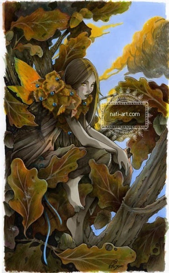 Gold and Turquoise - fantasy - Fairy - Archival Giclee Print - Thick paper - natalia Pierandrei