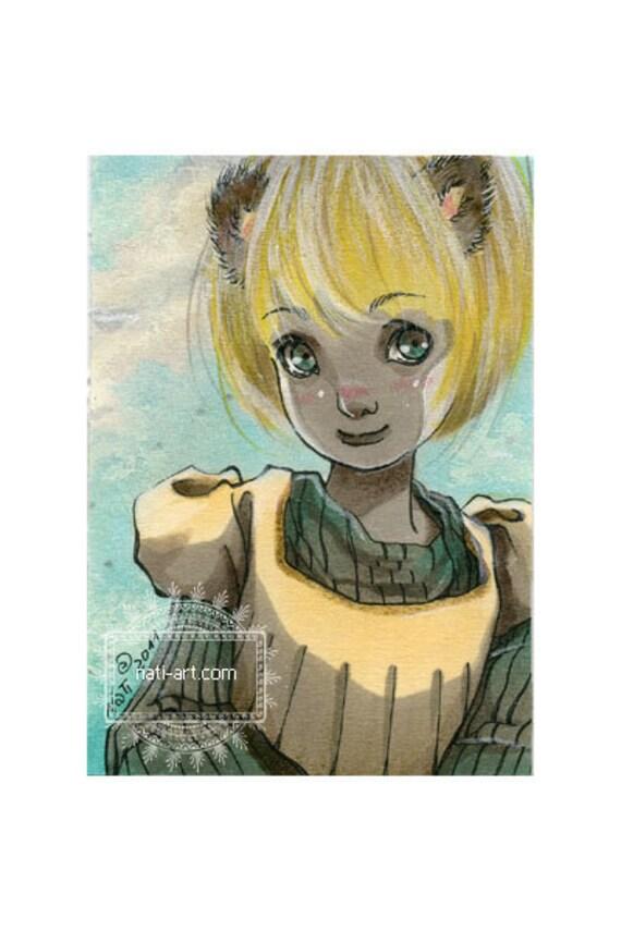 ACEO card - ORIGINAL - Kitty
