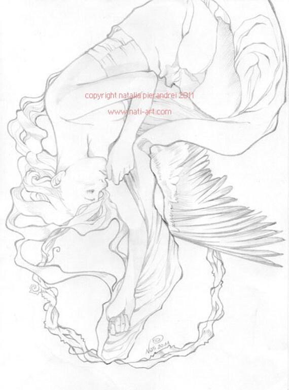 Art Nouveau fallen Angel - ORIGINAL pencil drawing