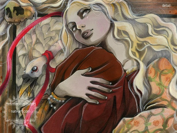 Rapunzel - Fairy Tale - Grimm Brothers - ORIGINAL  Illustration by  Natalia Pierandrei