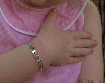Handstamped Sterling Silver Cuff Bracelet Little Girl or Toddler
