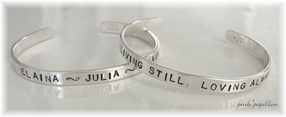 Hand-stamped Sterling Silver Cuff Bracelet for ADULT