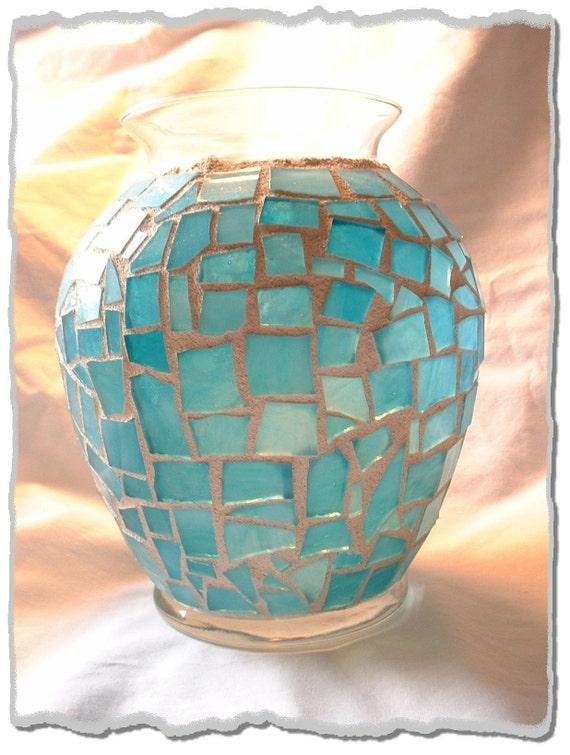 Aqua Teal Mosaic Vase Candle Holder Beachy