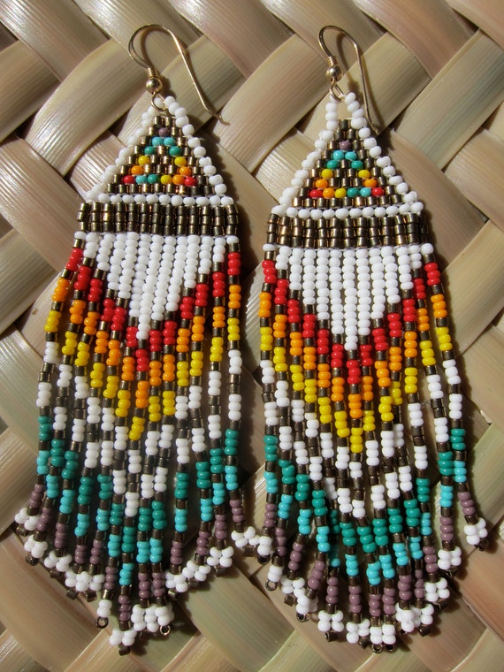 Native American white seed beaded rainbow beauties long