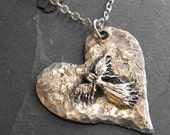 Sterling Silver Hammered Heart Angel Pendant Necklace