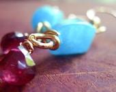 Bohemian Earrings, Garnet Earrings, Dangling Earrings, Gemstone Earrings, Gold Filled Earrings