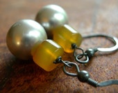 Criminally Chic- Steel Gray and Yellow Pearls and Chalcedony earrings- New Item