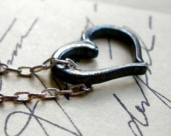 Heart Pendant Necklace, Oxidized silver heart in silver chain.