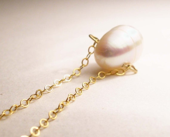 Lost Pearl Necklace- Tahitian Pearl on Gold-filled chain