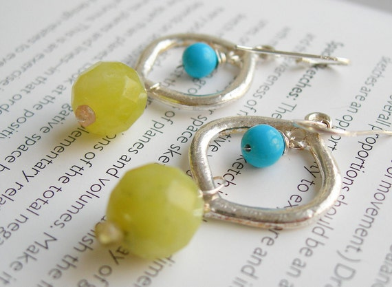 Wire wrapped Jade and Turquoise Silver Earrings