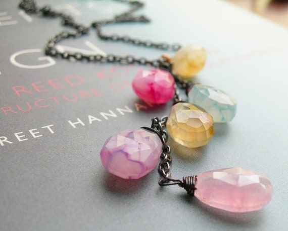 Sale - Bohemian Necklace, Multicolor Necklace, Chalcedony Necklace