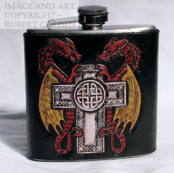 Tooled Leather Flask - Celtic Cross with Dragons