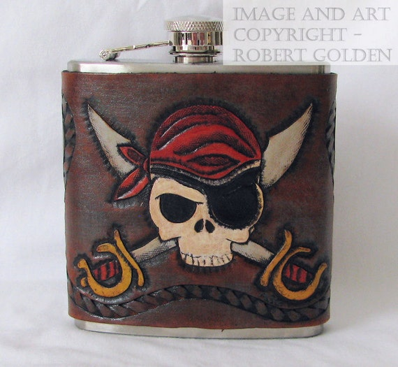 Tooled Leather Flask Jolly Roger - Pirate Flask