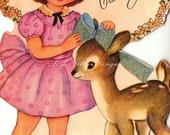 Vintage 1950s Doe A Deer Greetings Card Digital Printable Images (33)