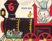 Vintage Hallmark UNUSED 1956 Happy Birthday 6 Year Old Greetings Card (B68a)