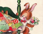 Vintage Hallmark 1950s Sure Sorry You're Laid Up DOLLAR Greetings Card (B70)
