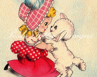 Mary Had A Little Lamb Vintage Greetings Card Digital Printable Image (05)