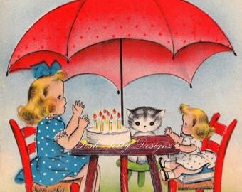 Afternoon Tea Party 1940s Vintage Greetings Card Digital Printable Image (14)
