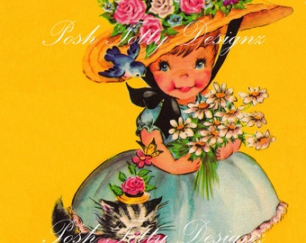 Little Girl and her Kitten 1940s Vintage Digital Download Image (56)