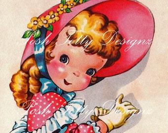 A Girls Favorite Bonnet 1940s Vintage Greetings Card Digital Printable Image (66)