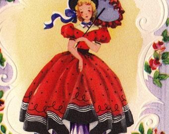 Vintage 1940s Happy Birthday To My Girl Friend Greetings Card (B4)