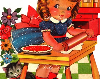 Making A Tart For Mommy 1940s Vintage Greetings Card Digital Download Printable Images (145)