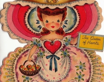 Vintage Hallmark UNUSED 1950s The Queen of Hearts Greetings Card (B6)