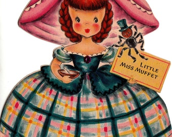 Vintage Hallmark UNUSED 1947 Little Miss Muffet Greetings Card (B6)