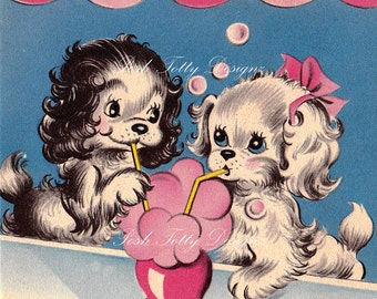 Puppy Love Over Soda Vintage Greetings Card Digital Download Printable Images (166)