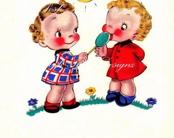 Best Friends 1940s Vintage Digital Greetings Card Download Printable Images (202)