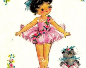 The Little Ballet Dancer Vintage Greetings Card Digital Download Printable Images (203)