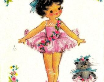 The Little Ballet Dancer Vintage Greetings Card Digital Download Printable Images (203)