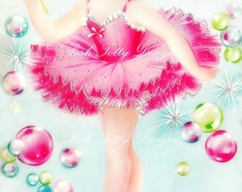 The Beautiful Little Ballerina Dancer Vintage Greetings Card Digital Download Images (224)