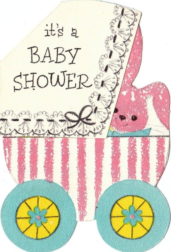 vintage hallmark its a baby shower 1950s unused invitation greetings