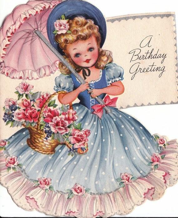 Vintage Wedding Card Unused Greeting Card 1960s 1950s: Vintage 1940s UNUSED A Birthday Greeting Card B52