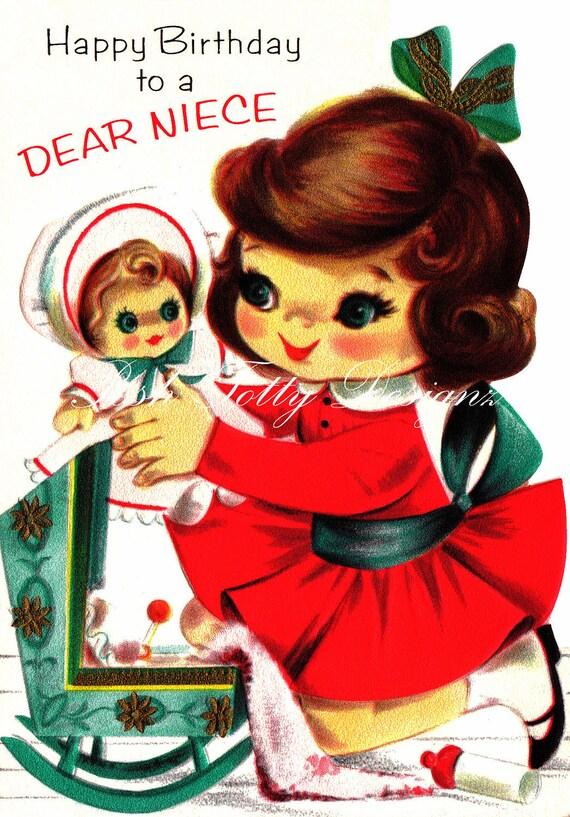 My Favorite Doll Vintage Greetings Card Digital Printable Images (22a)