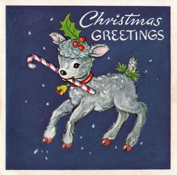 Vintage Wedding Card Unused Greeting Card 1960s 1950s: Vintage 1960s Christmas Greetings Card B3