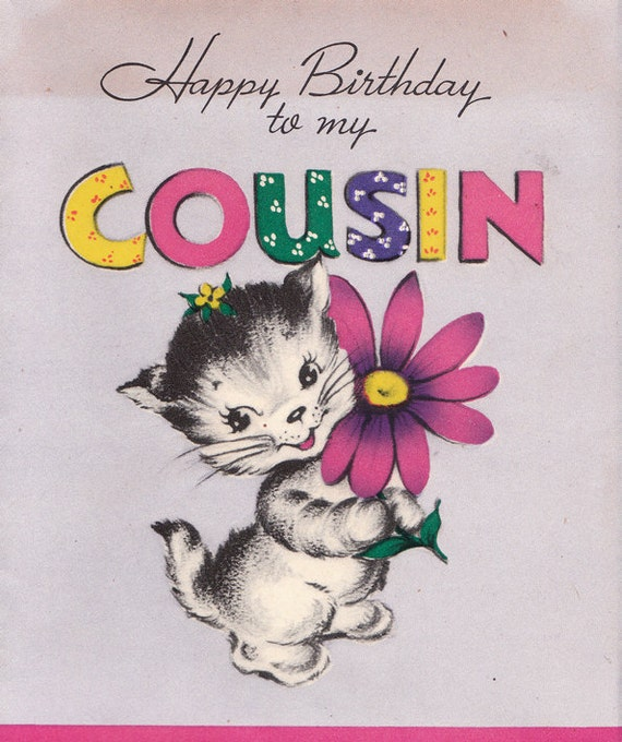 Items Similar To Vintage 1940s Happy Birthday To My Cousin