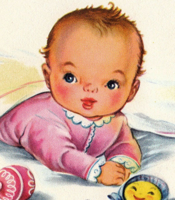 Vintage 1950s For The New Arrival Baby Greetings Card (B9a)