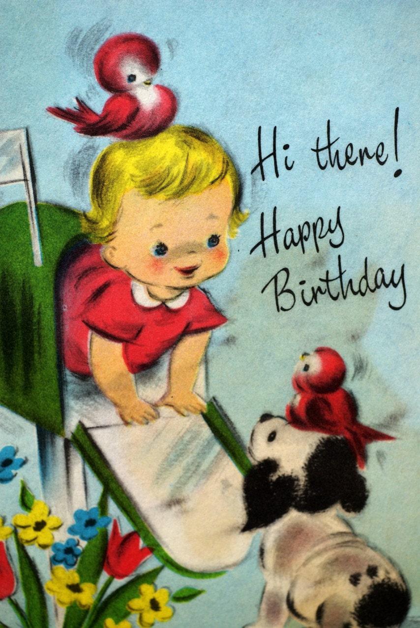 Vintage Happy Birthday Baby Girl Birds and Puppy 1950s