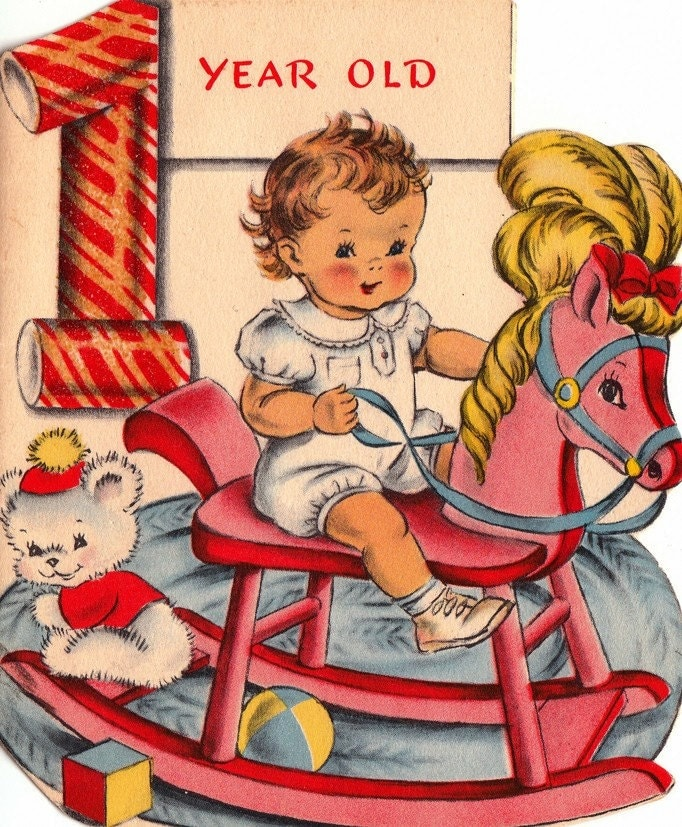 Images Of Vintage Girls First Birthday Card: Vintage 1940s 1 Year Old Baby & Rocking Horse Greetings Card