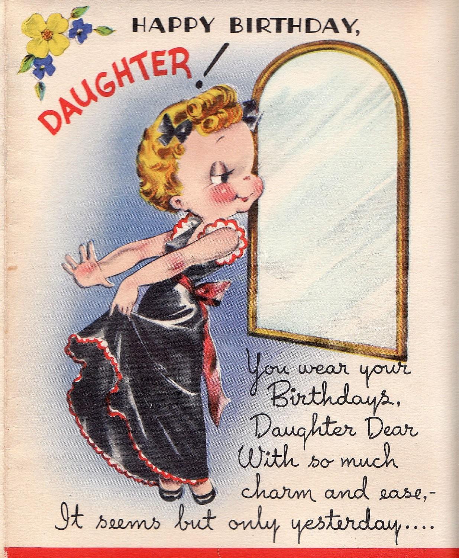 Vintage 1950s UNUSED Happy Birthday Daughter Greetings Card