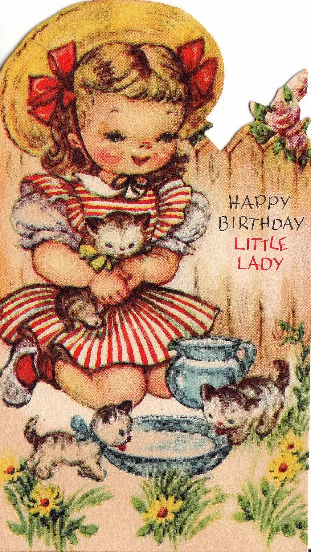 Vintage 1960s Happy Birthday Little Lady Greetings Card B37