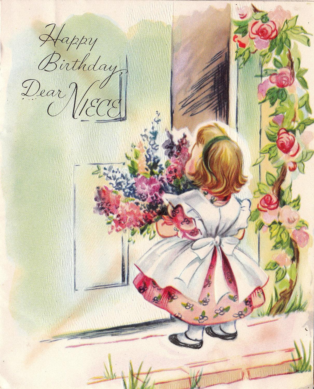 Vintage 1950s Happy Birthday Dear Niece Greetings Card B44