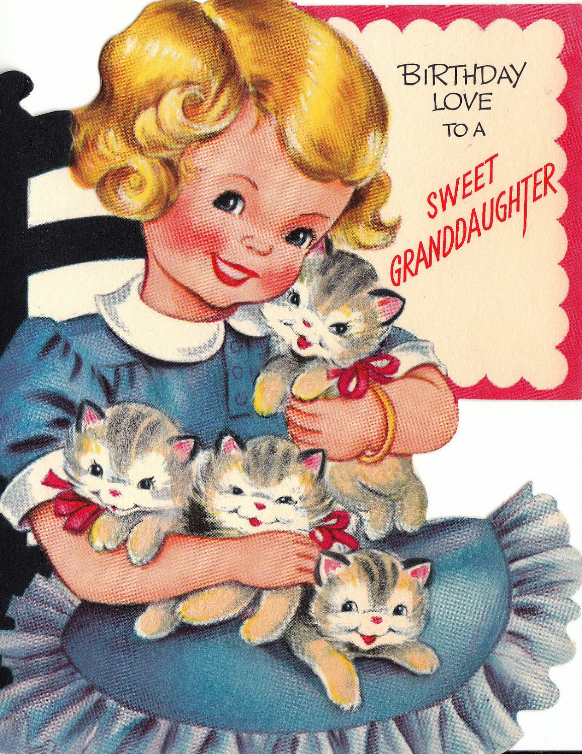 Vintage 1960s Birthday Love To A Sweet Daughter Greetings Card