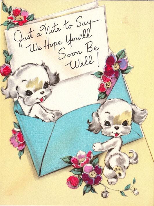 Vintage 1950s Get Well Soon Greetings Card B49