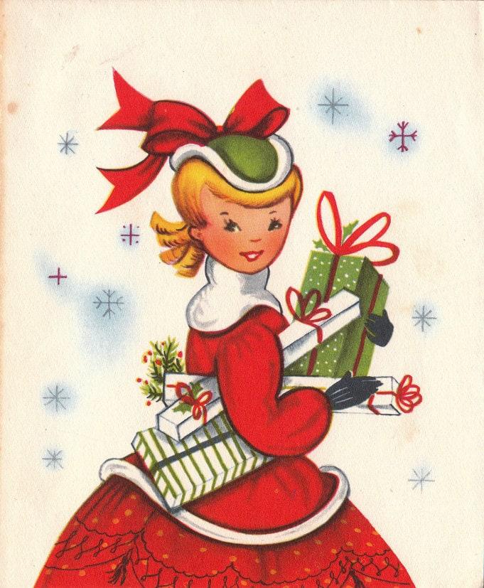 Vintage Wedding Card Unused Greeting Card 1960s 1950s: Vintage 1950s Christmas Greetings Card B3