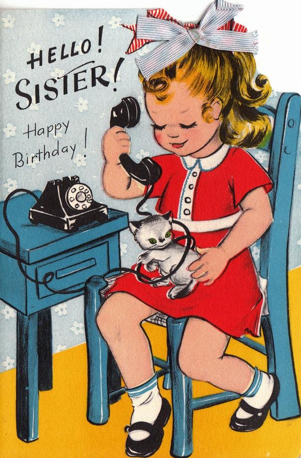 Marvelous Vintage 1950S Hello Sister Happy Birthday Greetings Card Personalised Birthday Cards Xaembasilily Jamesorg