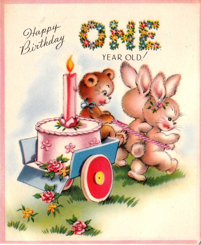 Images Of Vintage Girls First Birthday Card: Vintage 1951Happy Birthday One Year Old Greetings Card B66